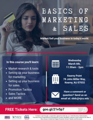 Basics of Marketing/Sales: Learn how to market and sell your business in today's world. @ Kearny Point