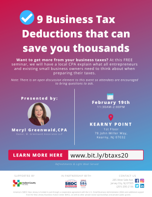 9 Business Tax Deductions that can save you thousands @ Kearny Point
