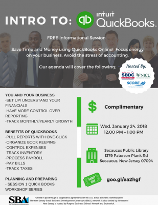 Intro to Quickbooks Workshop @ Secaucus Public Library