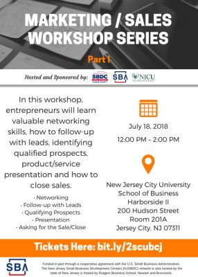 Marketing and Sales Workshop Part 1 @ New Jersey City University- School of Business
