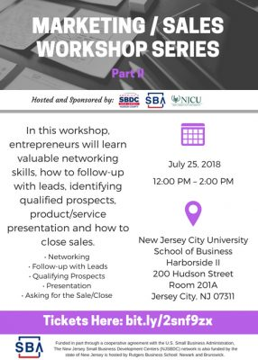 Marketing and Sales Workshop Part 2 @ New Jersey City University- School of Business