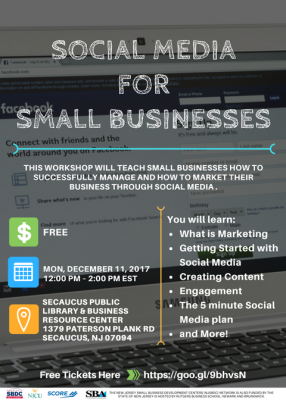 Social Media for Small Businesses @ Secaucus Public Library & Business Resource Center