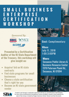 Small Business Enterprise Certification @ Secaucus Public Library & Business Resource Center
