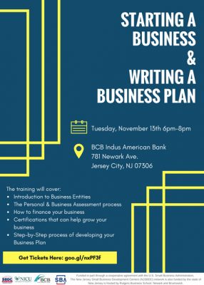 Starting a Business and Writing a Business Plan @ BCB Indus American Bank