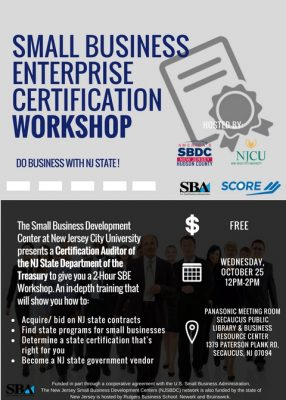 Small Business Enterprise Certification Workshop @ Secaucus Public Library & Business Resource Center