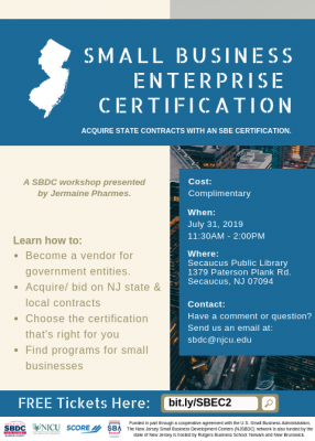 Small Business Enterprise Certification Workshop @ Secaucus Public Library