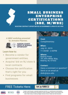 Small Business Enterprise Certification Workshop @ Kearny Point