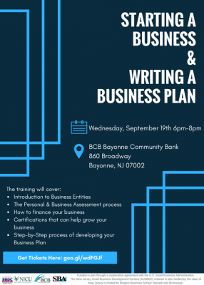 Starting a Business & Writing a Business Plan @ BCB Bayonne Community Bank