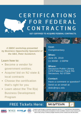 Certifications for Federal Contracting @ Secaucus Public Library