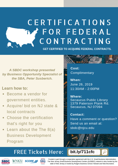 Certifications For Federal Contracting Small Business Development Center At New Jersey City University Hudson County Nj